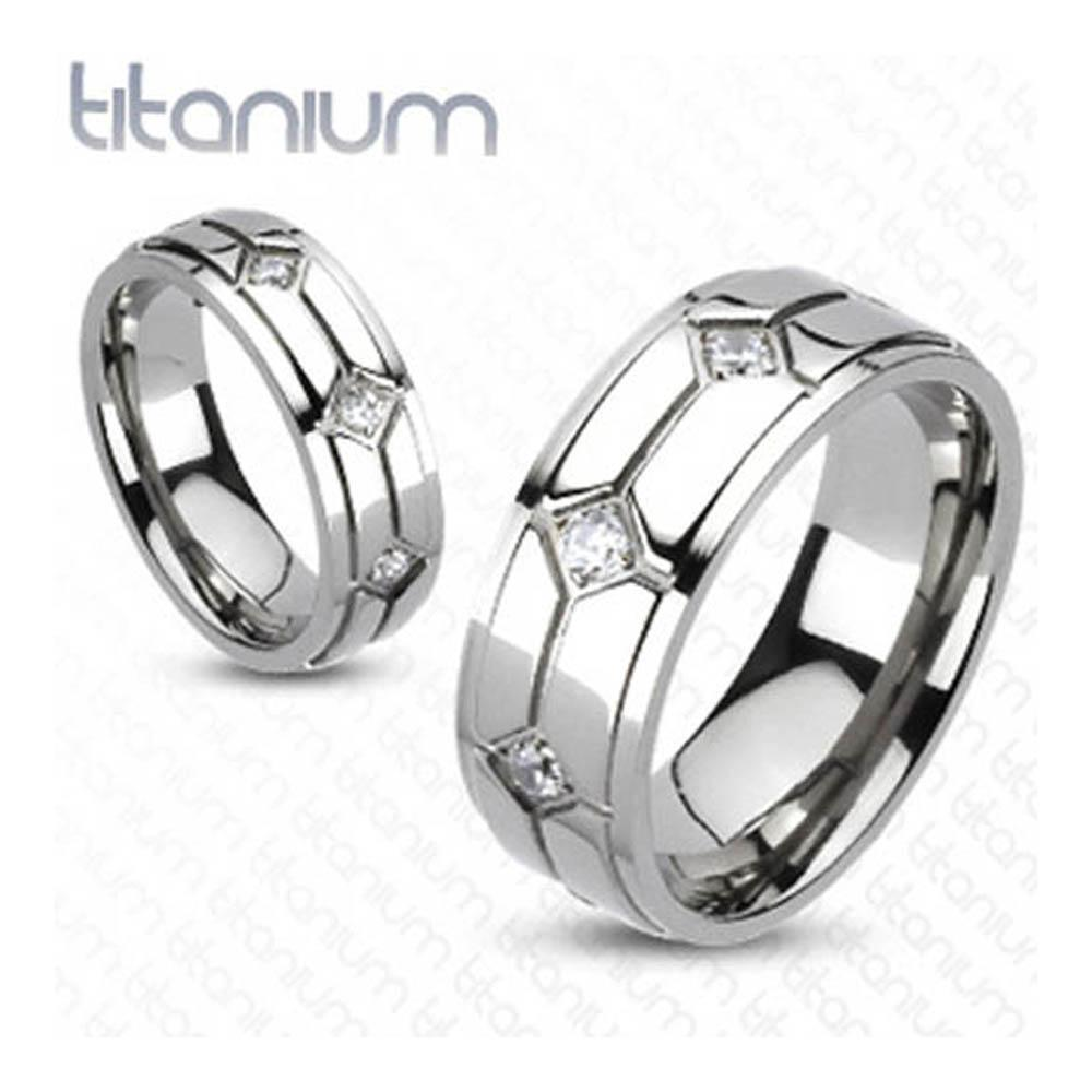 Solid Titanium Diamond Shaped Grooves with Round CZs Band Ring