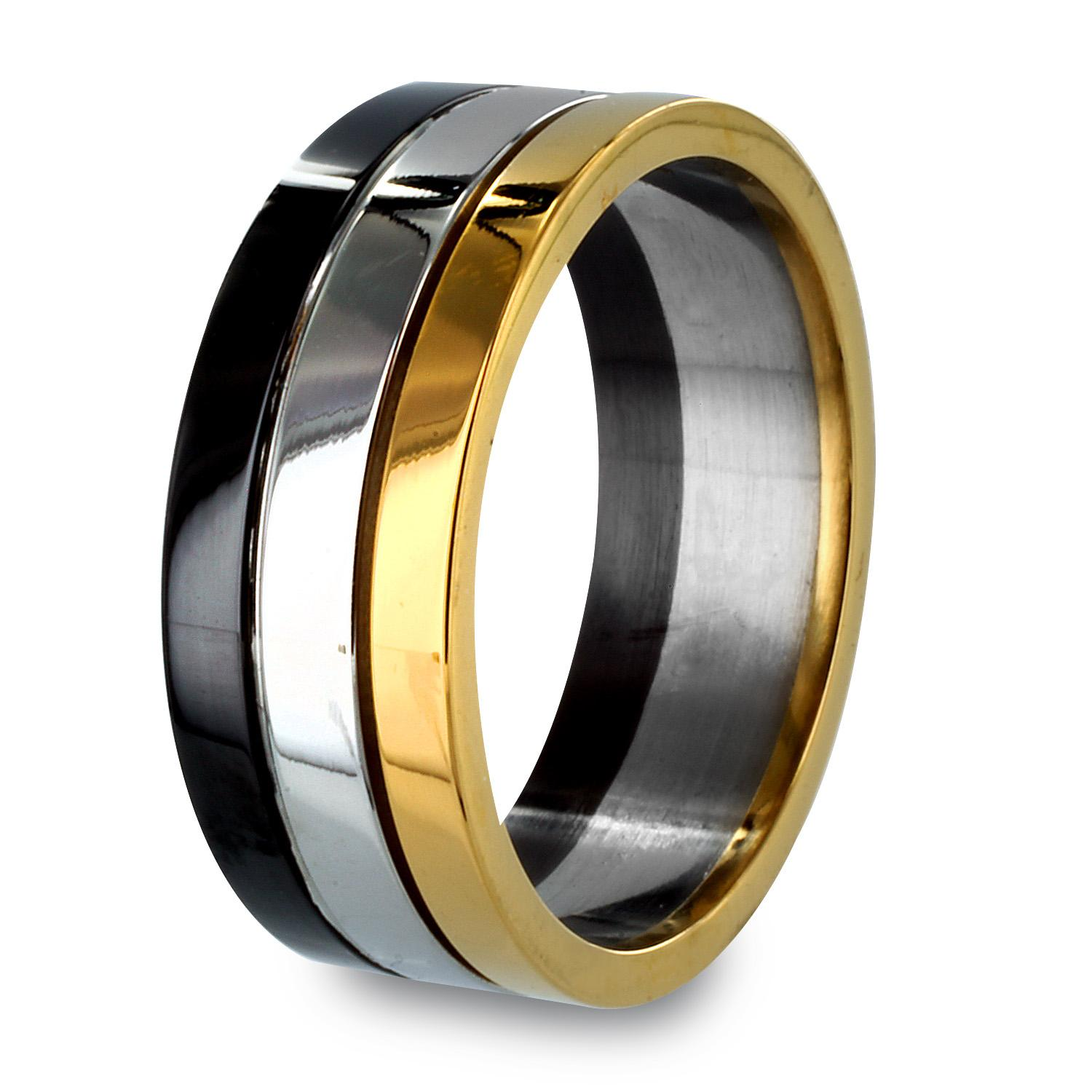 Black and Gold Plated Stainless Steel Stacked Grooved Ring