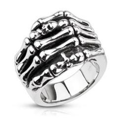 Stainless Steel Skeleton Hand with Skull & Cross Cast Ring - Thumbnail 0