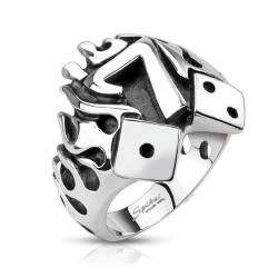 Flaming Lucky Seven With Dice Cast Stainless Steel Ring - Thumbnail 0