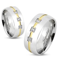 Three Gems with Gold IP Line Center Stainless Steel Ring