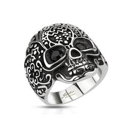 Decorated Skull with Black Gemmed Eyes Wide Cast Stainless Steel Ring