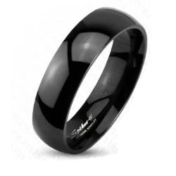Black Plated Solid Titanium 6mm Wide Glossy Mirror Polished Traditional Wedding Band Ring - Thumbnail 0