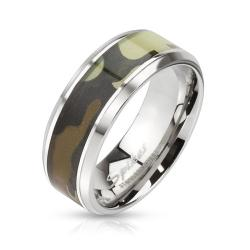Camouflage Inlay Stainless Steel Beveled Edge Band Ring - Thumbnail 0