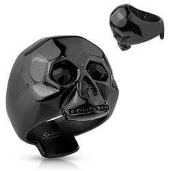 Faceted Skull with Black Gem Eyes Black IP Stainless Steel Ring