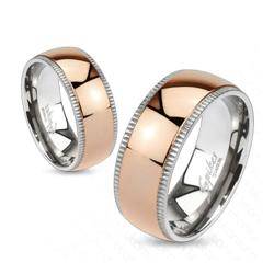 Grooved Solid Titanium Edges with Rose Gold IP Dome Center Band Ring