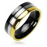Gold And Black IP Edged Tri Tone Ring Solid Titanium