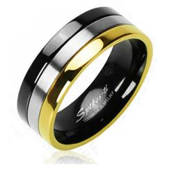 Gold And Black IP Edged Tri Tone Ring Solid Titanium