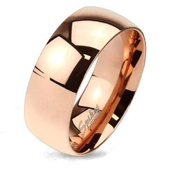 Classic Rose Gold IP Solid Titanium Band Ring - Thumbnail 0