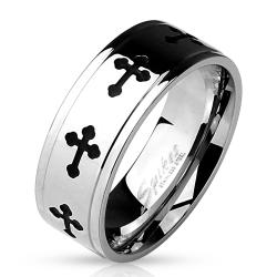 Black IP Celtic Crosses with Grooved Edges 316L Stainless Steel Ring - Thumbnail 0