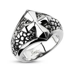 Stainless Steel Ring With Smooth Cross Over a Band of Steel Leather - Thumbnail 0