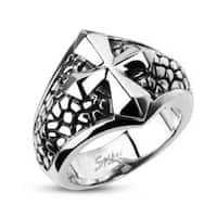 Stainless Steel Ring With Smooth Cross Over a Band of Steel Leather