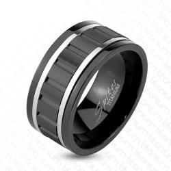 Wavy Black IP Spinner Ring with Steel Lines Solid Titanium Ring - Thumbnail 0