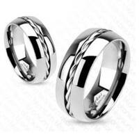 Rope Twist Inlay Center Band Ring Solid Titanium