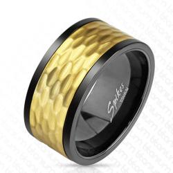 Black and Gold IP Hammered Solid Titanium Spinner Ring - Thumbnail 0