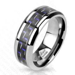 Black with Blue Stripe Carbon Fiber Inlay Band Ring Solid Titanium - Thumbnail 0