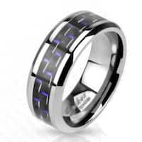 Black with Blue Stripe Carbon Fiber Inlay Band Ring Solid Titanium