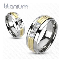 Solid Titanium Gold Plated Grooved Center Triple CZ Band Ring - Thumbnail 0