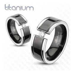 Solid Titanium Black Plated Center Grooved Band Ring with CZ - Thumbnail 0