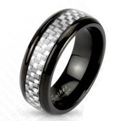 White Silver Carbon Fiber Inlay Center Band Ring Black IP Titanium - Thumbnail 0