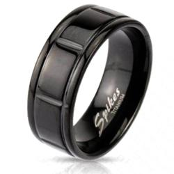 Solid Titanium Black Plated Box Grooved Band Ring - Thumbnail 0