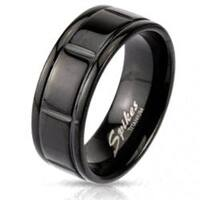 Solid Titanium Black Plated Box Grooved Band Ring