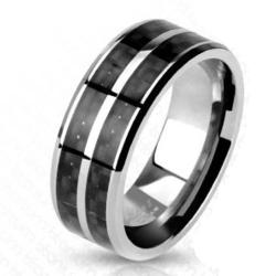Carbon Fiber Inlay with Slit Center Band Ring Solid Titanium - Thumbnail 0