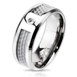 Solid Titanium White Silver Carbon Fiber Inlay CZ Center Band Ring