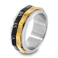 316L Stainless Steel Spinner Ring with Roman Numerals and Two-Tone Plating