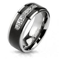 Center Black IP with Centered String of Micro Paved CZs Band Ring Solid Titanium