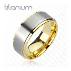 Solid Titanium 2-Tone Brushed Center Gold Plated Edges Band Ring - Thumbnail 0