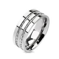Double Line Rope Twist Inlay Band Ring Solid Titanium