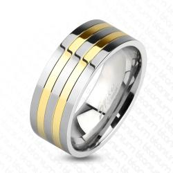 Two Toned Silver and Gold IP Lines Solid Titanium Ring - Thumbnail 0