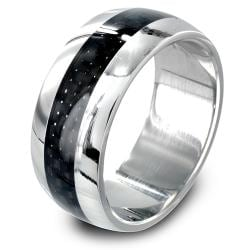 316L Stainless Steel Carbon Fiber Inlay Center Dome Band Ring - Thumbnail 0