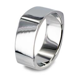 Stainless Steel Mirror Polished Square Band Ring - Thumbnail 0
