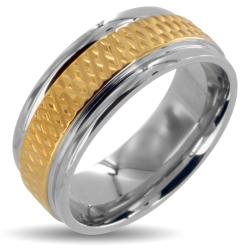 Gold Plated Stainless Steel Hammered Center Polished Two Tone Ring (8mm)