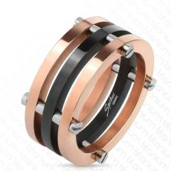 Two Toned Black and Rose Gold IP with Posts Solid Titanium Ring