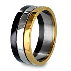 Black and Gold Plated Stainless Steel Stacked Grooved Ring - Thumbnail 0
