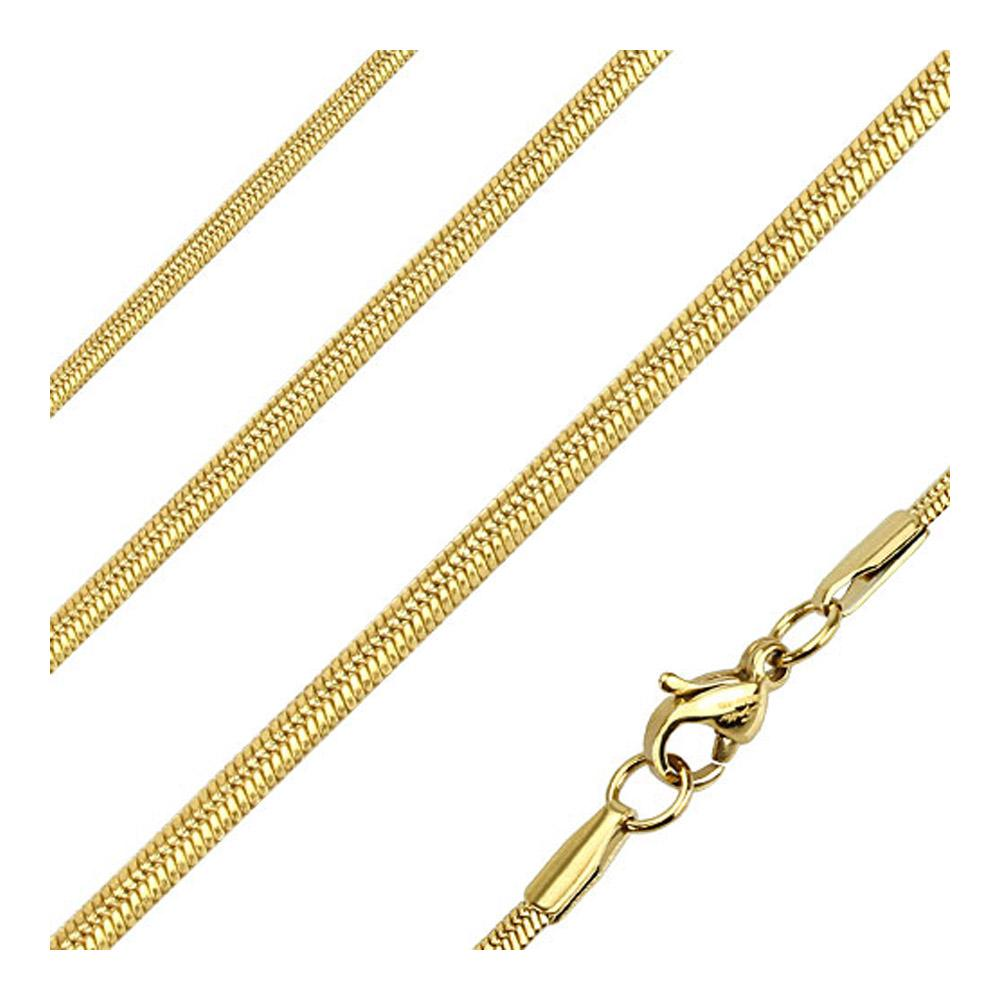 Oval Snake Link Chain Necklace Stainless Steel Gold IP 22 Inches Long