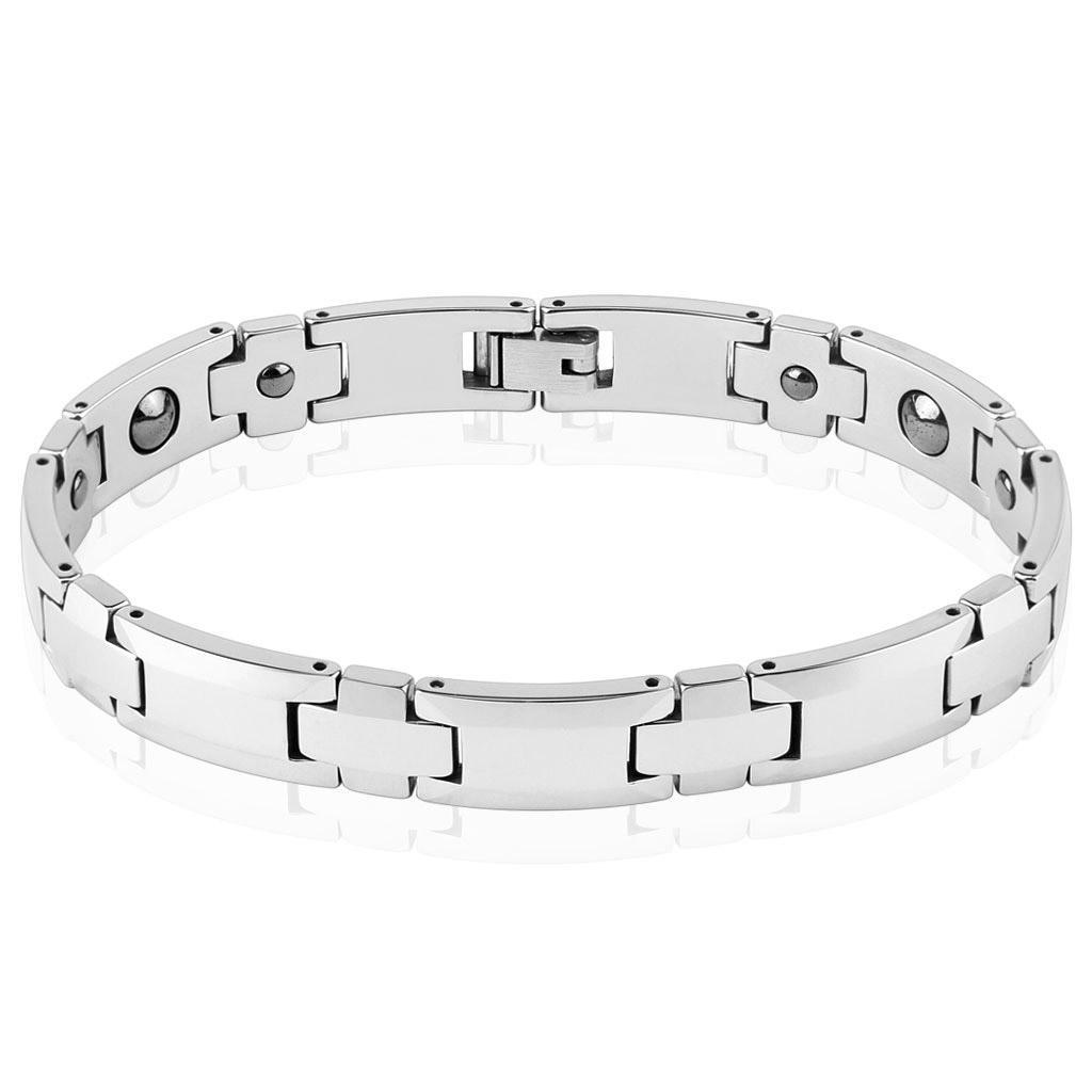 """Steel Edge Flat Link Tungsten Bracelet (10 mm) - 8.75"""""""