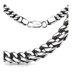 Stainless Steel Box Weave Chain Link Necklace - 24 inch - Thumbnail 0