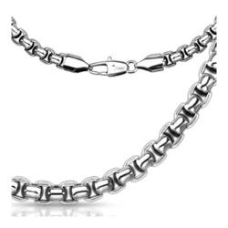"Stainless Steel Round Rectangle Chain Link Necklace - 24"" - Thumbnail 0"