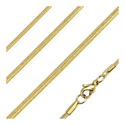 Oval Snake Link Chain Necklace Stainless Steel Gold IP 22 Inches Long - Thumbnail 0
