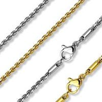 Twisted Round Link 316L Stainless Steel Chain Necklaces (7.8 mm) - 18 in