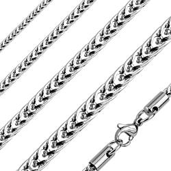 """Square Fox Chain Stainless Steel Necklace - 22"""""""