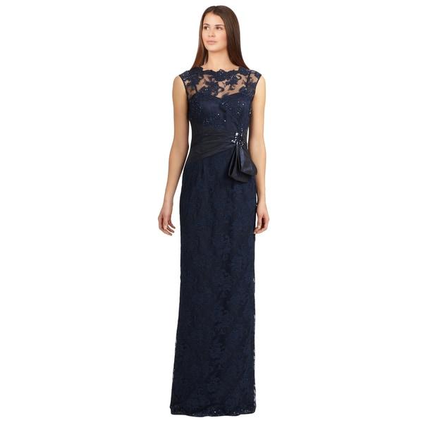 2ba19320e0720 Shop Teri Jon Navy Beaded Lace Illusion Pleated Sash Evening Gown ...