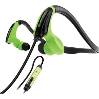 GOgroove AudiOHM CFT Fitness Headphones with In-Line Microphone and Flexible Neckband (Green)