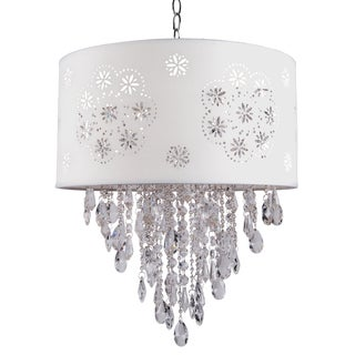 Joshua Marshal Home Collection 1 Light Chrome Pendant with a White Shade and Clear European Crystals