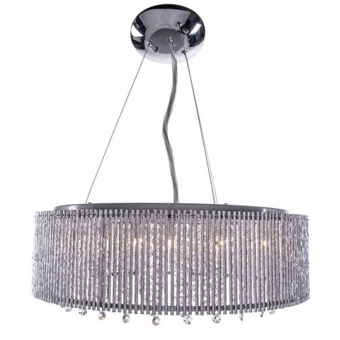 10 Light Shaded Chrome Crystal Pendant Chandelier with Clear European Crystals - Clear/Silver