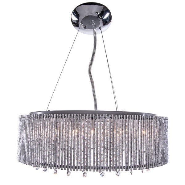10 Light Shaded Chrome Crystal Pendant Chandelier With Clear European